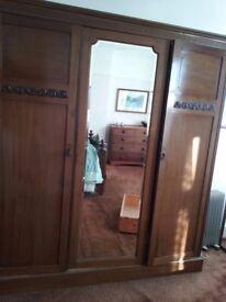 Vintage 3 door wardrobe with mirror