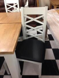 Painted cross back chairs £80