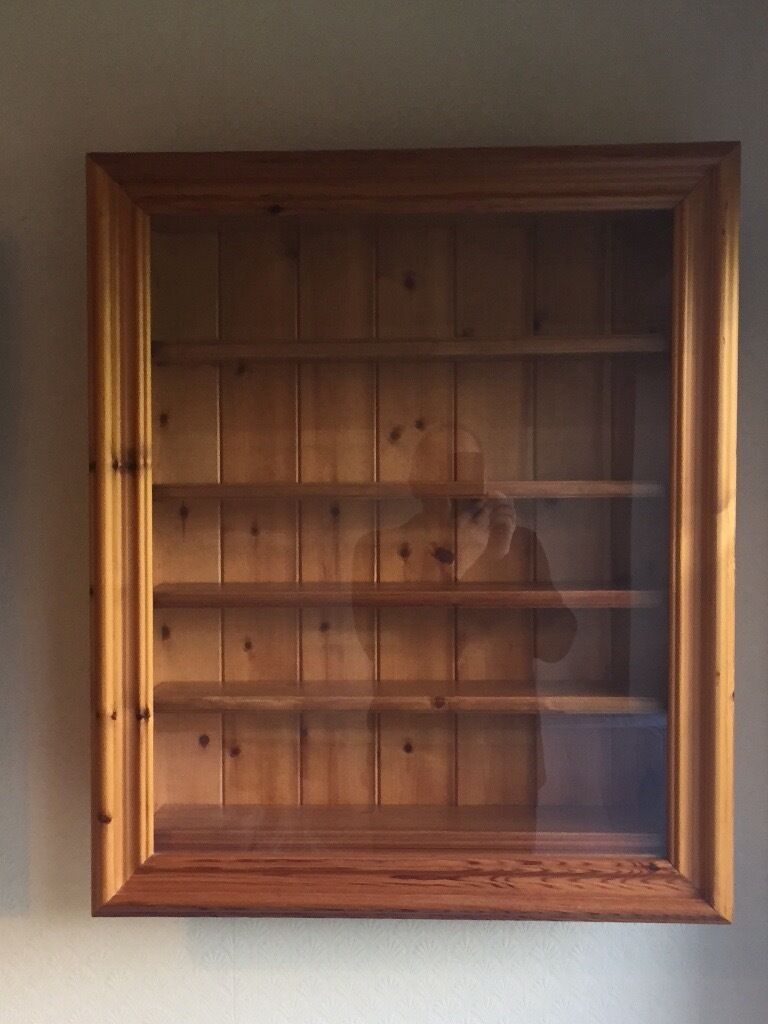 Pine Display Wall Cabinet for collectors