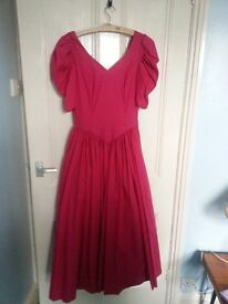 Prom dress, 'Laura Ashley' size 10, low cut back, good condition dark pink.