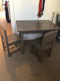 Ikea kids wooden table and 2 chairs