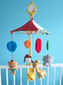 Circus themed musical baby cot mobile