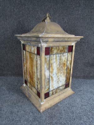 Arts & Crafts Collection Foyer (ANTIQUE ARTS & CRAFTS HALL hanging LANTERN with LEADED GLASS.....attr. to B&H )