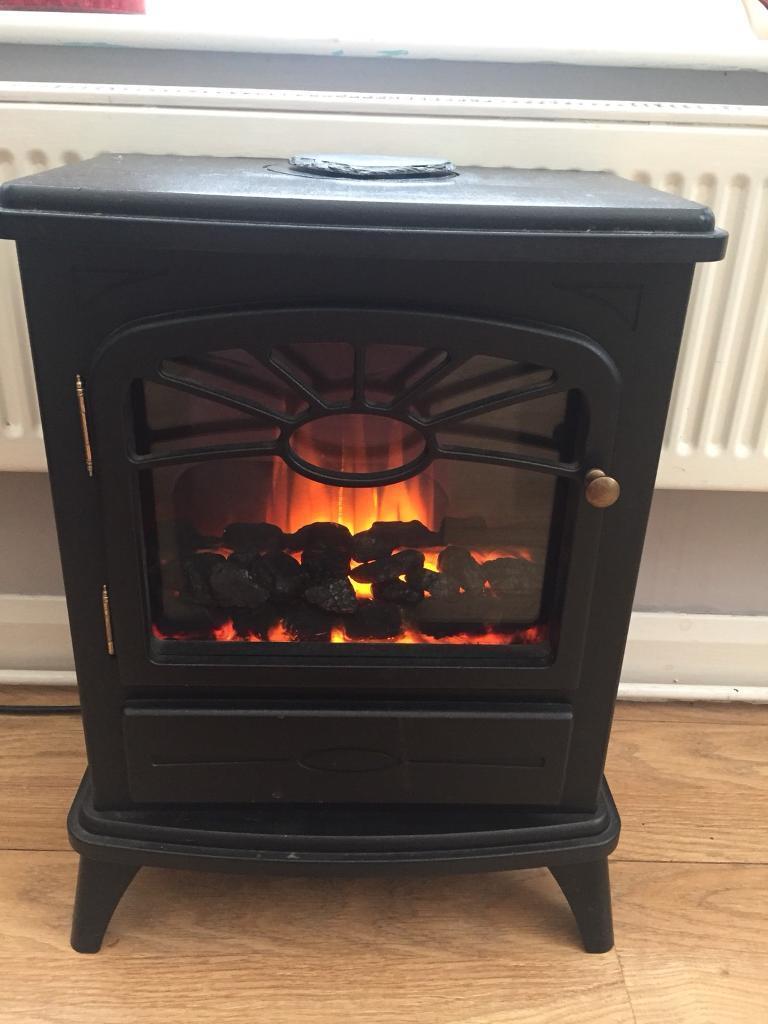 Black electric fire heater