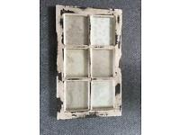 Old solid wood distressed shabby chic sash window frame picture frame