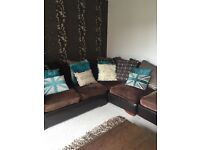Teal and brown left sided corner suite