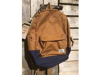Quicksilver Blue/brown I backpack. Adjustable straps, padded inside for laptop/iPad plus others
