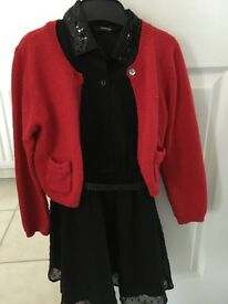 Black girls dress with red cardigan