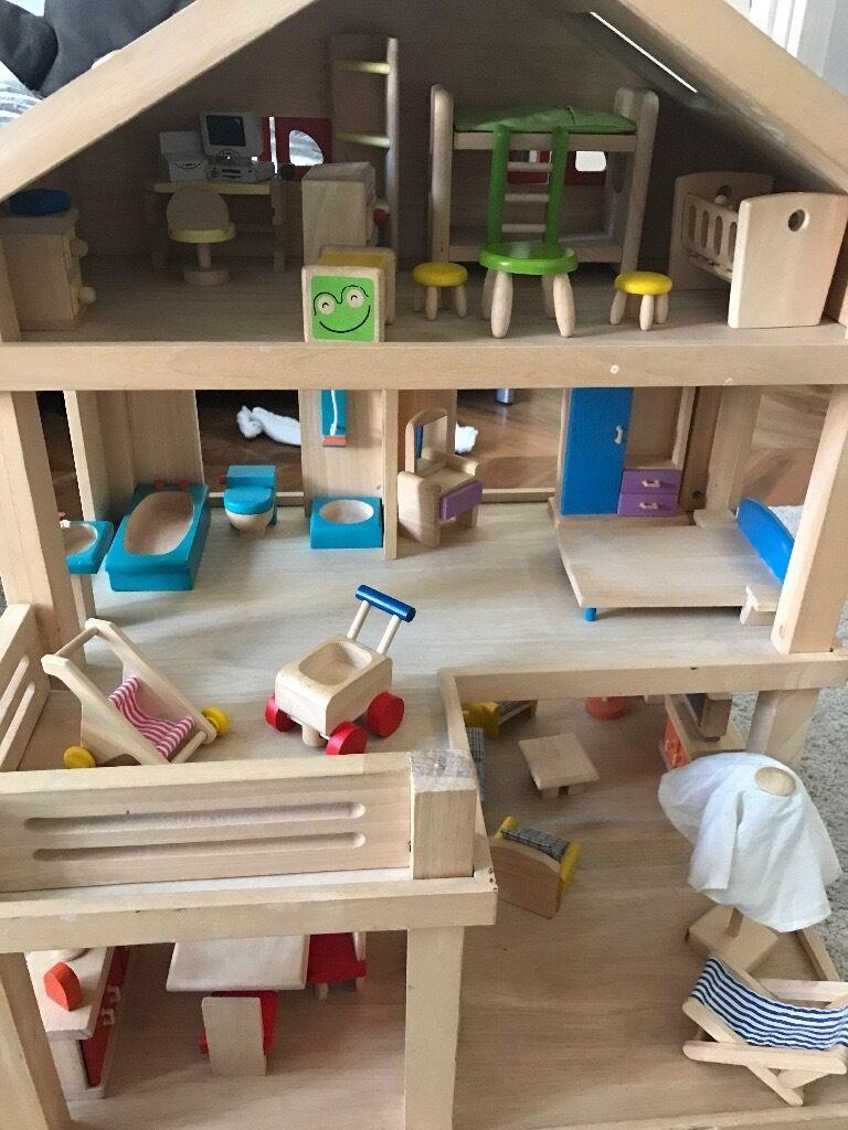 much loved original plan toys wooden dolls house   roomgarden  - much loved original plan toys wooden dolls house   roomgarden sets excellent