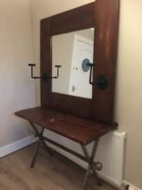 Solid mahogany wood hall table with matching mirror