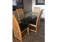 CONTEMPORARY MODERN GLASS DINING TABLE WITH CHAIRS MATCHING COFFEE TABLE LOW PRICE NEEDS TO GO