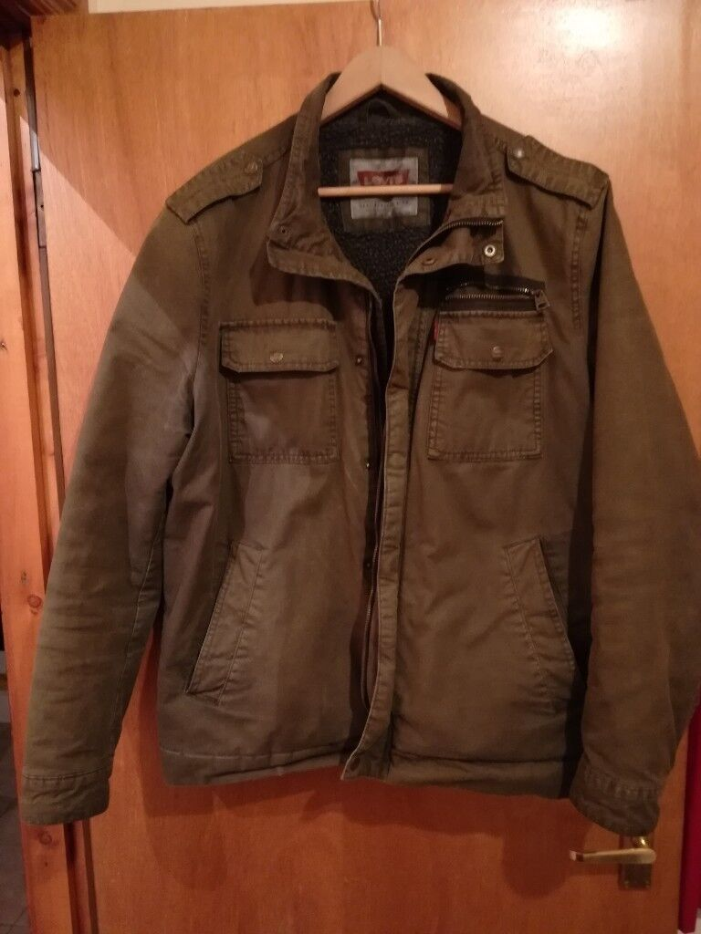 Levi's Olive Green Padded/Fleece Trucker Jacket XL