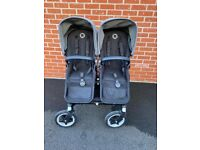 Bugaboo Donkey Twin plus Cybex car seats & isofix bases.