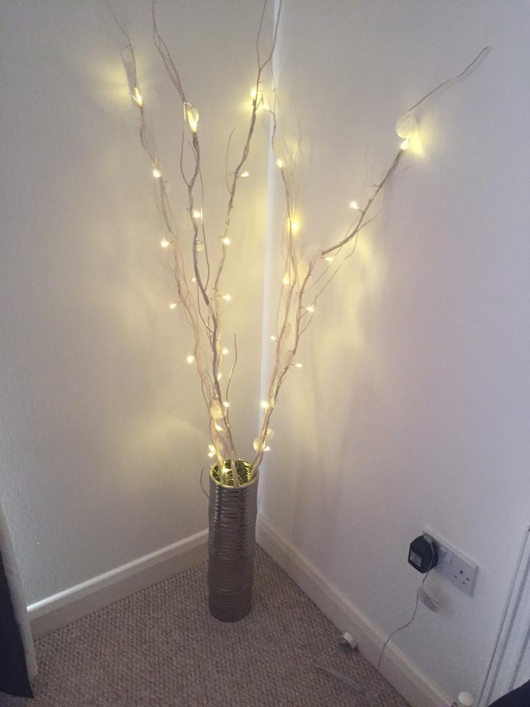 Next - cream twig lights & silver coloured vase