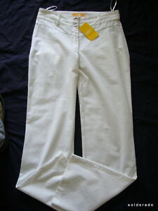 BIBA-Elegante-pantalon-TROPICAL-BIRDS-BLANCO-TALLA-34-Uk8-NUEVO