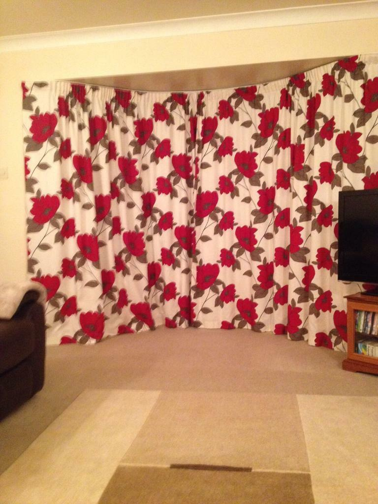Pair Of Red Floral Curtains And 5 Matching Cushions