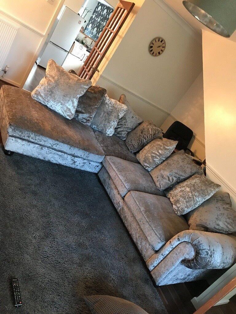Crushed Velvet Corner Sofa Grey/Silver