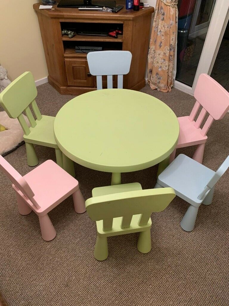 plastic ikea table comes with 6 chairs great for indoor or
