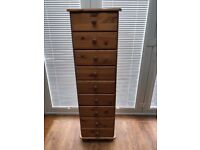 Wooden 9 drawer tall chest