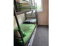 Bunk bed frame with drawer down and include tow mattress