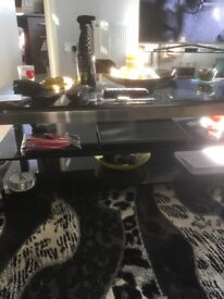 Black glass coffee table and tv unit