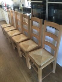 6 Solid Oak Ladder Back Rush Seated Dining Chairs