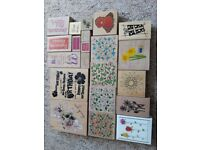 Large collection of inking stamps with some ink pads included