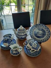 Genuine blue and white vintage 22piece 1977 silver jubilee tea set
