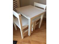 Children's White Table and Chairs
