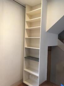 Large white shelving unit, bookcase, easy to install