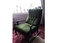 William Lawrence green velvet draylon rocking chair
