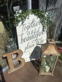 Large wooden sign. Home made. Wedding.
