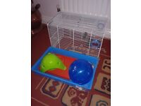 Hamster Cage, exercise ball, etc - Free!!