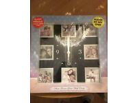 Black clock with photo inserts BNWT