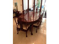 8 seater hand carved chinese rosewood dining table