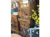 Solid natural wood bedside cupboards