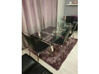 Next glass dining table, 4 leather chairs, bench seat