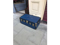 Brass Bound Blue Starge Trunk - In great condition