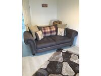 2 and 3 seater suede sofas (light charcoal colour) (20 months old)