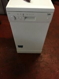 nice white beko dishwaher 50cm wide in excellent condition in full working order