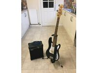 Encore electric 4string bass with practise amp.