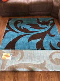 Teal & Brown Rug - Never been used