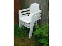 Three White Garden Chairs