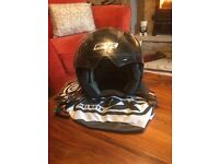 Box Moped / Motorcycle Open Face Helmet with Visor and In-Built Sunglasses - Large - No Accidents