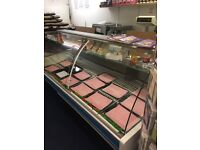 Butchers Refregerated display cabinet , curved glass x2 also rear chilled storage