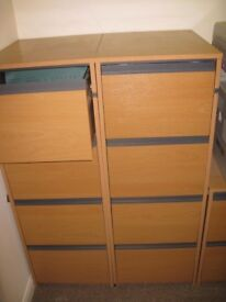 4 draw wooden finished lockable filing cabinets