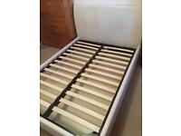 White Leather Double Bed Frame with Storage