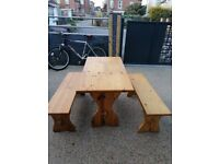 Solid wood dining set - table and two benches