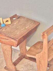 Original solid wood combination school desk. Children's desk.