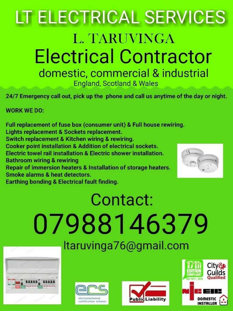 Qualified Electrician With 17th Edition 24hr Emergency Call Out Wiring Electric Shower 07988146379 Available 24 7